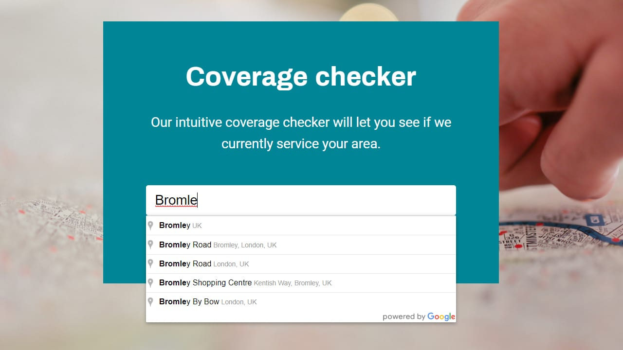 Automatically qualify web leads by geographic location with our coverage checker