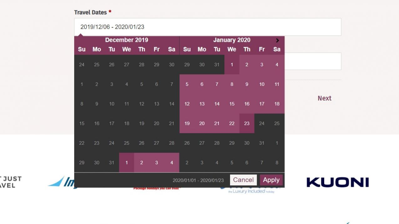 Date Ranges + Pickers