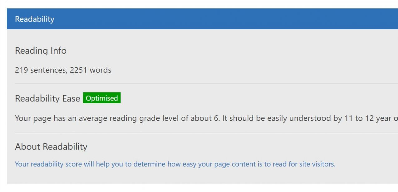 Check the Readability level of your content